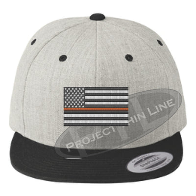 Heather / Black Embroidered Thin ORANGE American Flag Flat Bill Snapback Cap