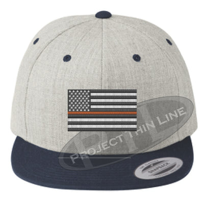 Heather / Navy Embroidered Thin ORANGE American Flag Flat Bill Snapback Cap