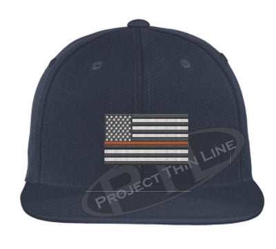 Navy Embroidered Thin ORANGE American Flag Flat Bill Snapback Cap