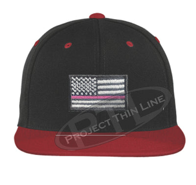 Black / Red Embroidered Thin Pink Line American Flag Flat Bill Snapback Cap