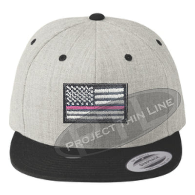 Heather / Black Embroidered Thin Pink Line American Flag Flat Bill Snapback Cap