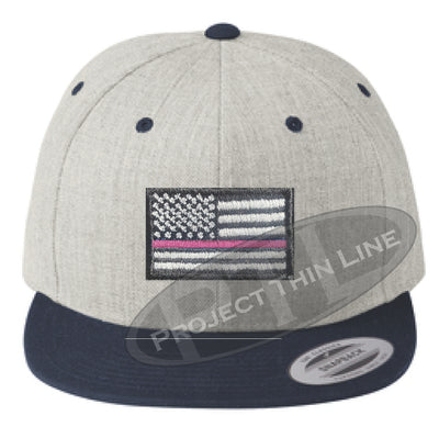 Heather / Navy Embroidered Thin Pink Line American Flag Flat Bill Snapback Cap