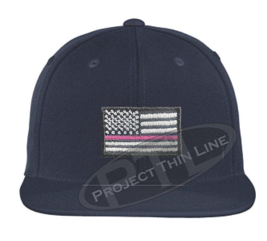 Black Embroidered Thin Pink Line American Flag Flat Bill Snapback Cap