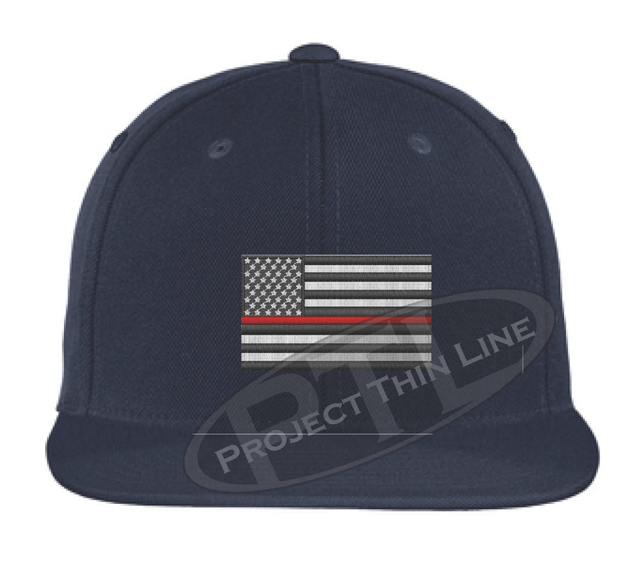 Black Embroidered Thin RED American Flag Flat Bill Snapback Cap