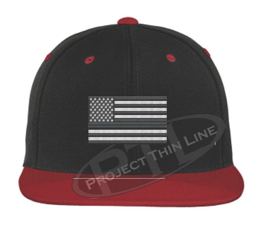 Black Embroidered Thin SILVER American Flag Flat Bill Snapback Cap