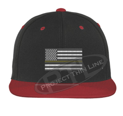 Black / Red Embroidered Thin GOLD American Flag Flat Bill Snapback Cap