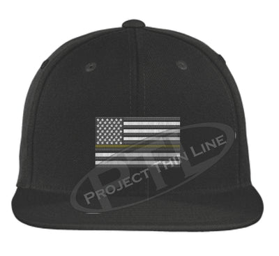 Black Embroidered Thin GOLD American Flag Flat Bill Snapback Cap