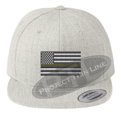 Heather Embroidered Thin GOLD American Flag Flat Bill Snapback Cap