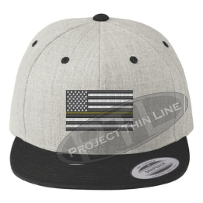 Heather / Black Embroidered Thin GOLD American Flag Flat Bill Snapback Cap