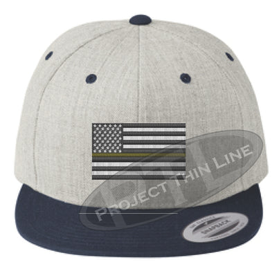 Heather / Navy Embroidered Thin GOLD American Flag Flat Bill Snapback Cap