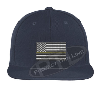 Navy Embroidered Thin GOLD American Flag Flat Bill Snapback Cap