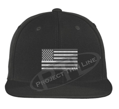 Black - Embroidered Thin Subdued / Tactical American Flag Flat Bill Snapback Cap
