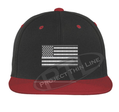 Black / Red Embroidered Thin Subdued / Tactical American Flag Flat Bill Snapback Cap