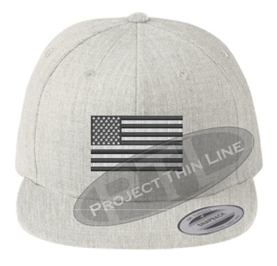Heather Embroidered Thin Subdued / Tactical American Flag Flat Bill Snapback Cap