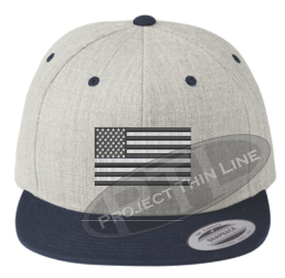 Heather / Navy Embroidered Thin Subdued / Tactical American Flag Flat Bill Snapback Cap