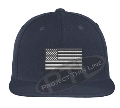 Navy Embroidered Thin Subdued / Tactical American Flag Flat Bill Snapback Cap