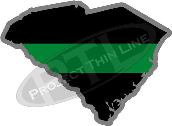 "5"" South Carolina SC Thin Green Line Black State Shape Sticker"