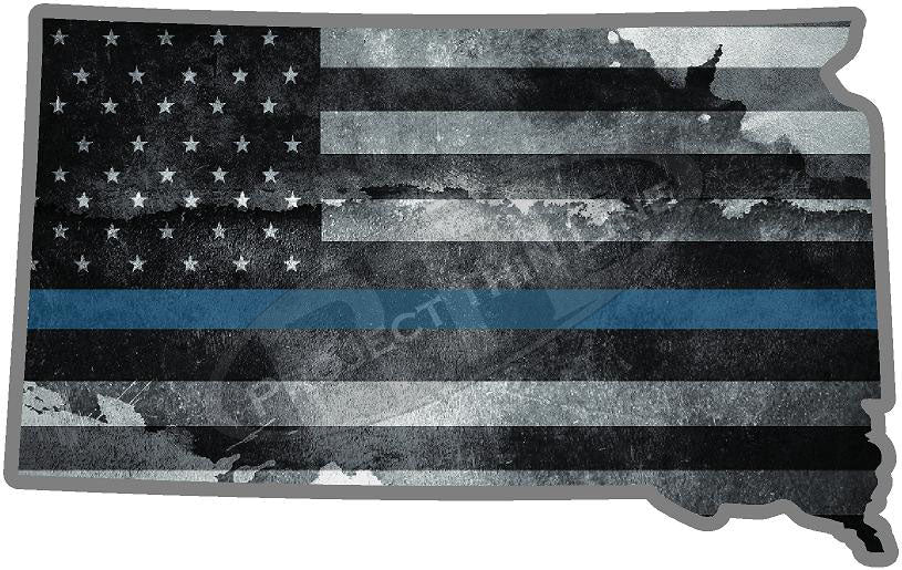 "5"" South Dakota SD  Tattered Thin Blue Line State Sticker Decal"
