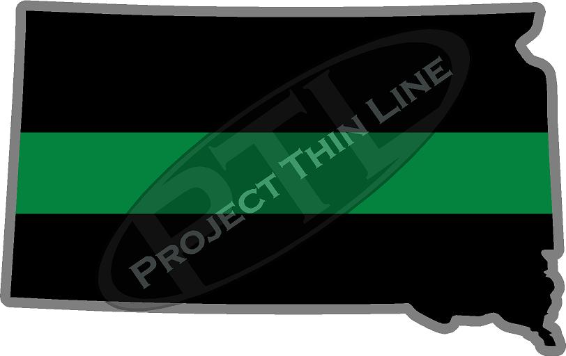 "5"" South Dakota SD Thin Green Line Black State Shape Sticker"