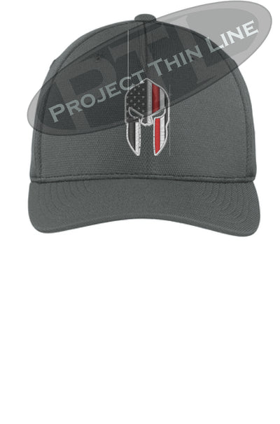 Dark Grey Flex Fit Hat Spartan Helmet with Thin RED Line