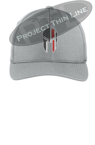 Light Grey Flex Fit Hat Spartan Helmet with Thin RED Line
