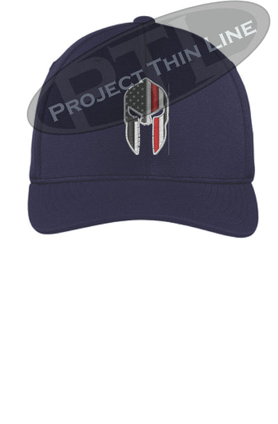 Navy Flex Fit Hat Spartan Helmet with Thin RED Line
