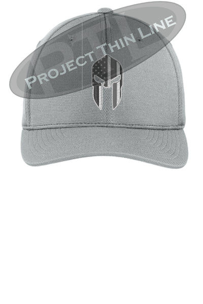 Light Grey Flex Fit Hat Spartan Helmet with Thin Silver Line