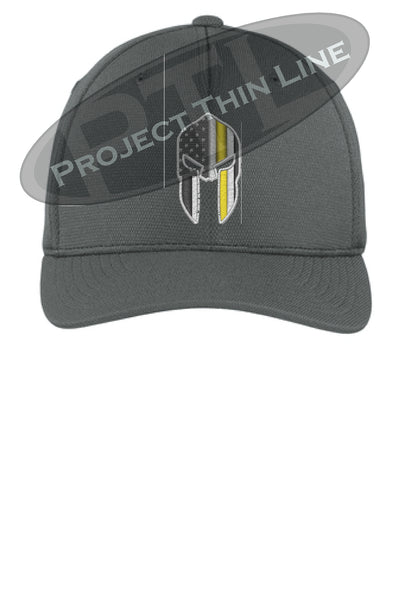 Dark Grey Thin YELLOW Line Spartan inlayed with the American Flag Flex Fit Fitted TRUCKER Hat