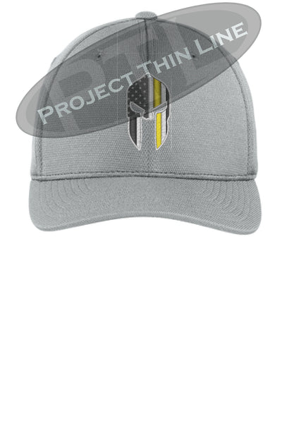 Light Grey Thin YELLOW Line Spartan inlayed with the American Flag Flex Fit Fitted TRUCKER Hat
