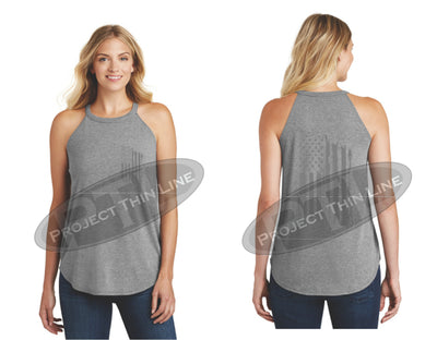 Grey Tattered Tactical - Subdued American Flag Rocker Tank Top
