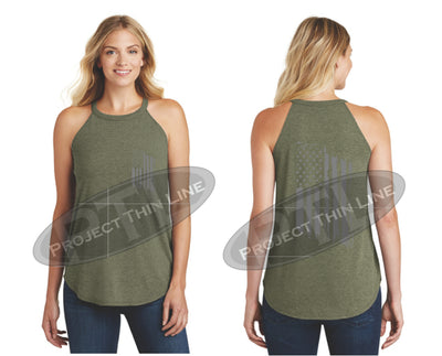 OD Green Tattered Tactical - Subdued American Flag Rocker Tank Top