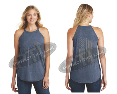NAVY Tattered Tactical - Subdued American Flag Rocker Tank Top