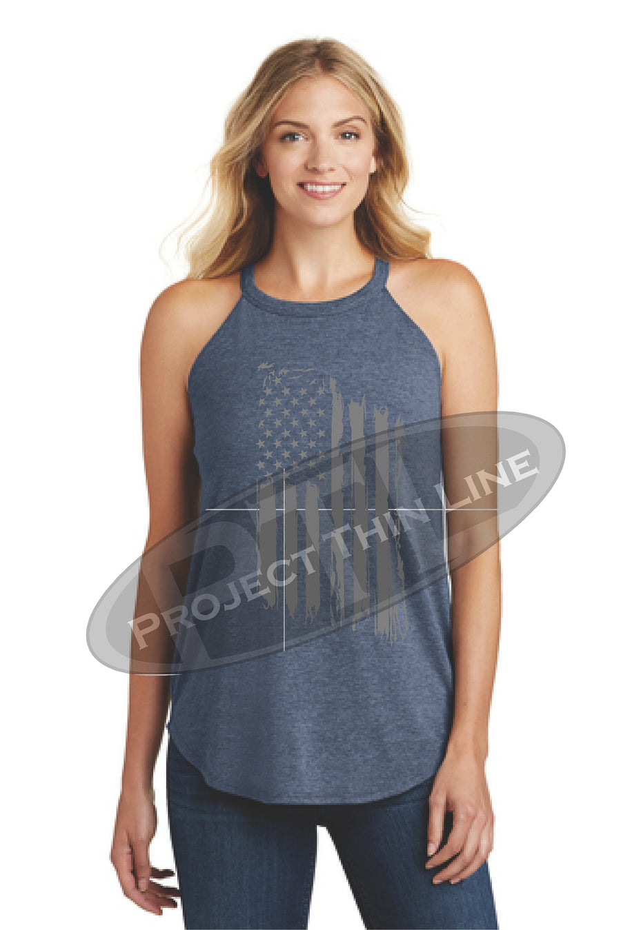 OD Green Tattered Tactical - Subdued American Flag Rocker Tank Top - FRONT