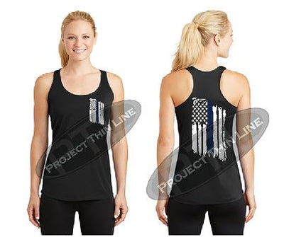 Black Womens Tattered Thin Blue Line American Flag Racerback Tank Top