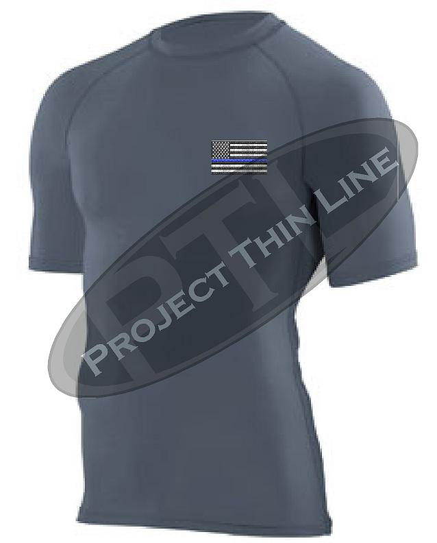 Black Embroidered Thin Blue Line American Flag Short Sleeve Compression Shirt