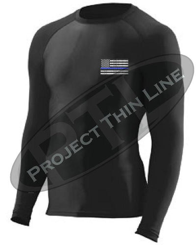 Black Embroidered Thin Blue Line American Flag Long Sleeve Compression Shirt