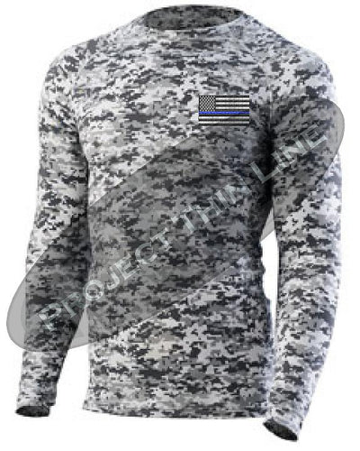 Digital Camo Embroidered Thin Blue Line American Flag Long Sleeve Compression Shirt