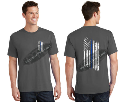 Charcal Thin BLUE Line Tattered American Flag Short Sleeve Shirt