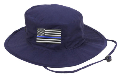 Embroidered Thin Blue Line American Flag Boonie Adjustable Hat