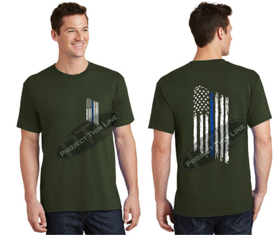 OD Green Thin BLUE Line Tattered American Flag Short Sleeve Shirt