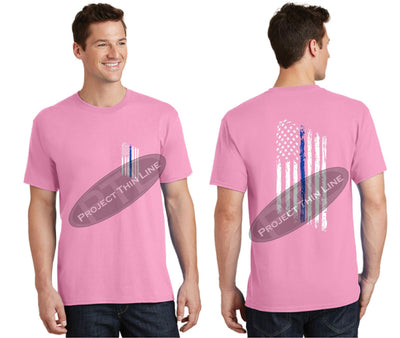 Pink Thin BLUE Line Tattered American Flag Short Sleeve Shirt