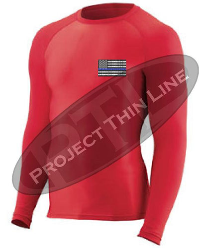 Red Embroidered Thin Blue Line American Flag Long Sleeve Compression Shirt