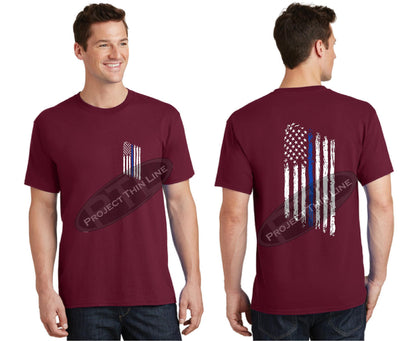 Red Thin BLUE Line Tattered American Flag Short Sleeve Shirt