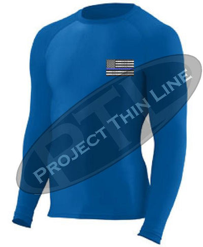 Royal Embroidered Thin Blue Line American Flag Long Sleeve Compression Shirt