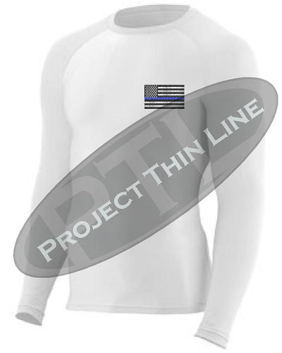 White Embroidered Thin Blue Line American Flag Long Sleeve Compression Shirt