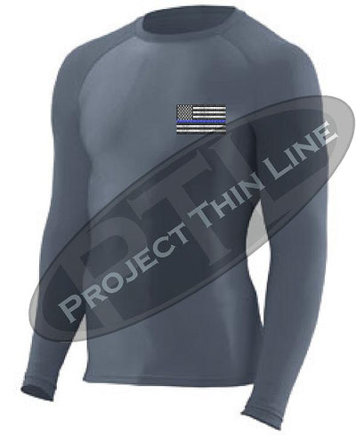 Charcoal Embroidered Thin Blue Line American Flag Long Sleeve Compression Shirt