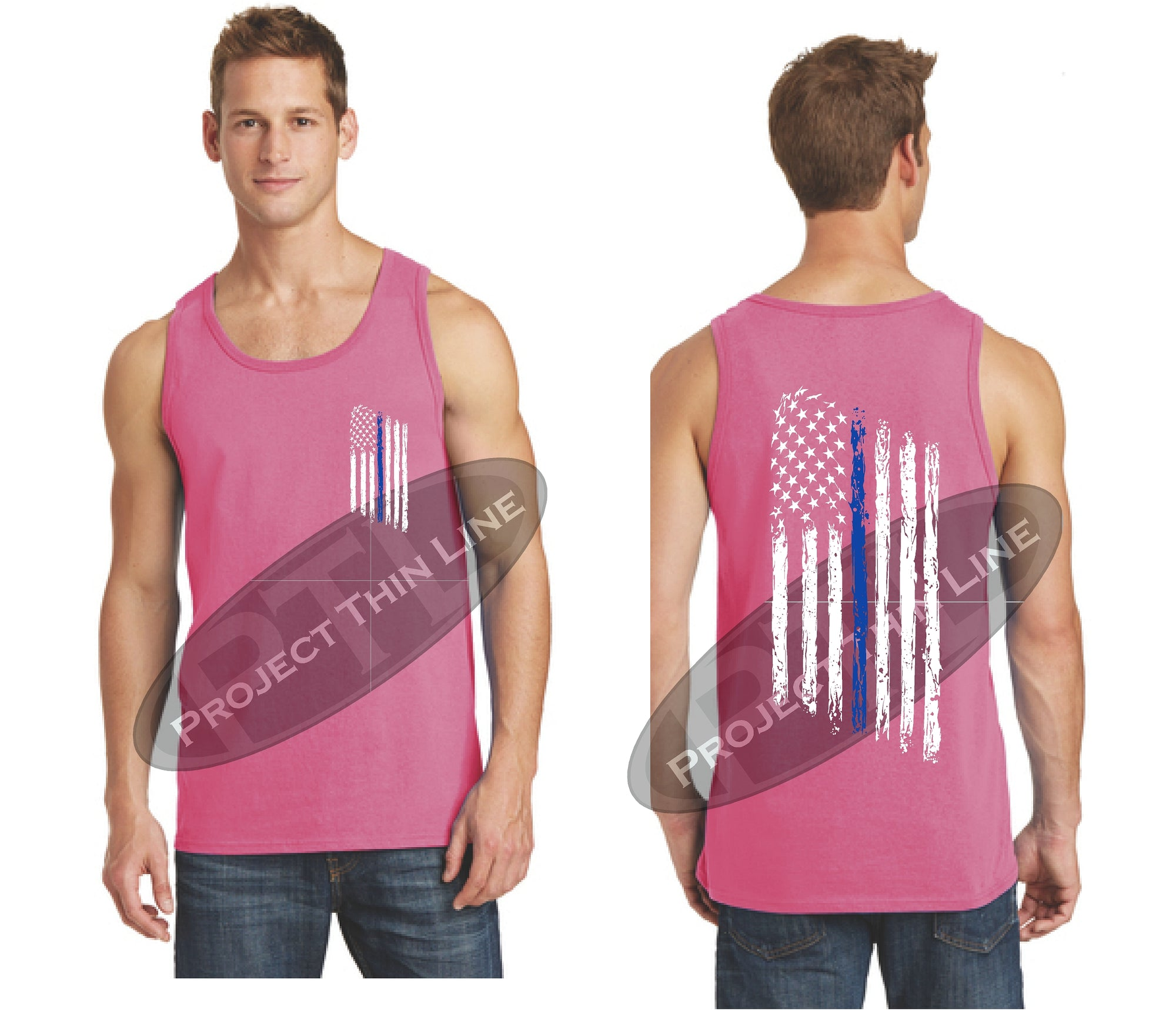 ad0f06403b54ba Mens Thin BLUE Line Tattered Subdued American Flag Tank Top ...