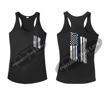 Tattered Thin Blue Line American Flag Racerback Tank Top