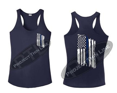 Navy Blue Womens Tattered Thin Blue Line American Flag Racerback Tank Top