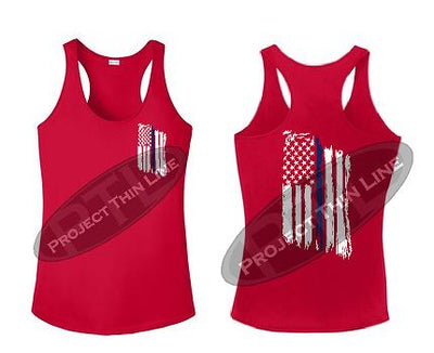Red Womens Tattered Thin Blue Line American Flag Racerback Tank Top